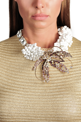White Rhinestone Necklace-2