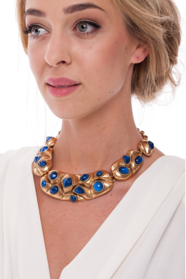 Gold Resin Bib Necklace-1