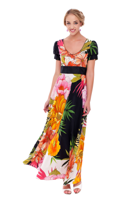 Long Floral Silk Dress-0