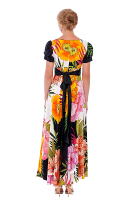Long Floral Silk Dress-1