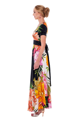 Long Floral Silk Dress-2