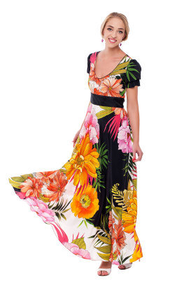 Long Floral Silk Dress-3