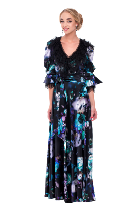 Long Floral Neck Silk Dress-0
