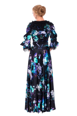 Long Floral Neck Silk Dress-2