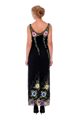 Embroidered Chiffon Maxi Dress-2