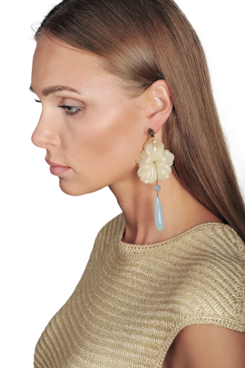 Ivory Flower Earrings-1