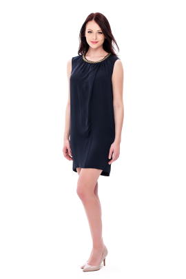 Navy Neck Decorated Dress-1