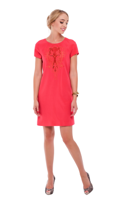 Coral Pink Embroidered Dress-0