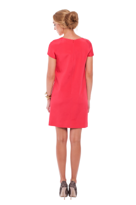 Coral Pink Embroidered Dress-2