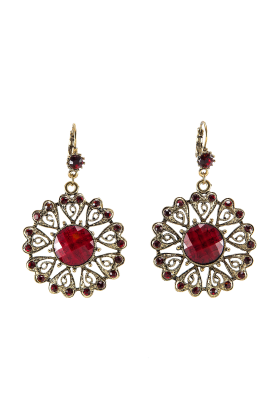 Red Floral Love Earrings-0