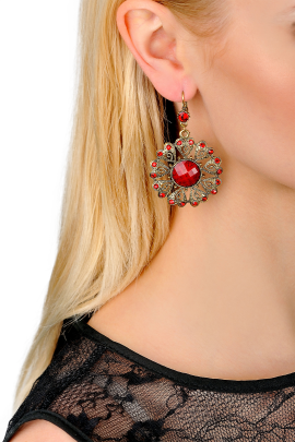Red Floral Love Earrings-1