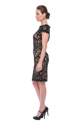 Black Embroidery on Tulle Dress-1