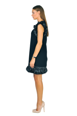 Shell-trimmed Crepe Mini Dress-2