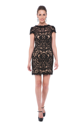 Black Mini Embroidery Dress-0