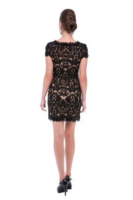 Black Mini Embroidery Dress-2