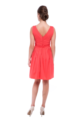 Coral Pink Frilled Dress-2