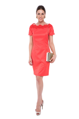 Coral Neck Embroidered Dress-0
