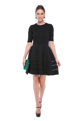 Black Stripes Knitted Dress-0