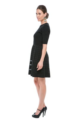 Black Stripes Knitted Dress-1