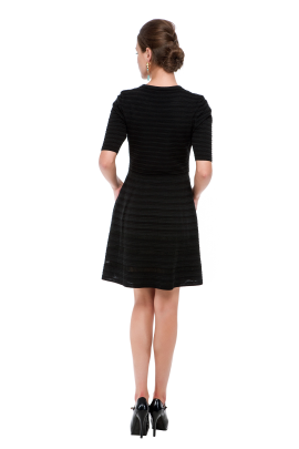 Black Stripes Knitted Dress-2