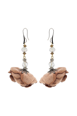 Brown Rose Earrings-0