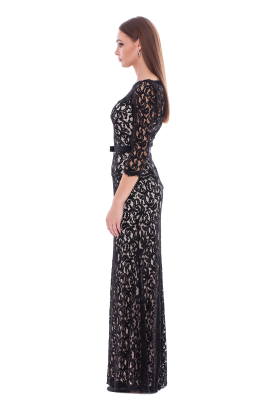 Long Black Embroidered Dress-1