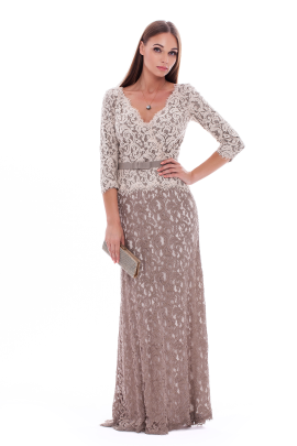 Long Latte Embroidered Dress-0
