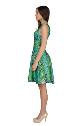 Printed Green Jaquard Dress-2