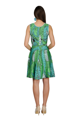 Printed Green Jaquard Dress-3
