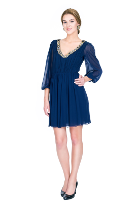 Navy Silk Georgette Dress-1