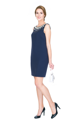 Trapeze Dark Blue Dress-0