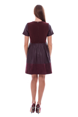 Marsala Leather Dress /VILNIUS-3