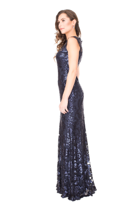 Navy Sequin Gown-1
