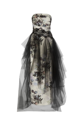 Floral Faille and Tulle Gown-0