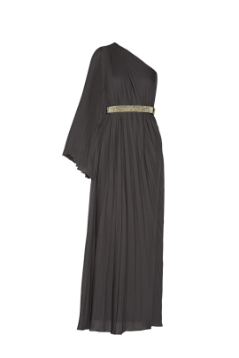 One-shoulder Crepe Gown-0