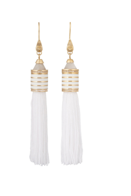 Agate Crystal Tassel Earrings-0