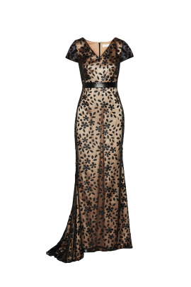 Faux Leather-appliqued Gown-0