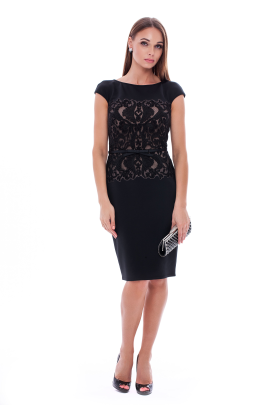 Black Elegant Neoprene Dress-0