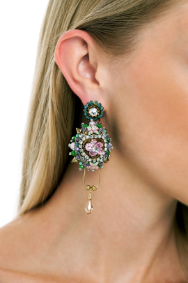 Faberge Pink Flower Earrings-1