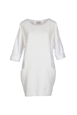 White Jacquard Pocket Dress-0