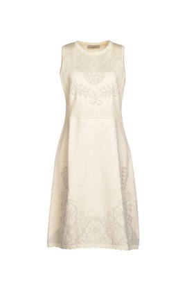 Ivory Jacquard Decorated Dress-0