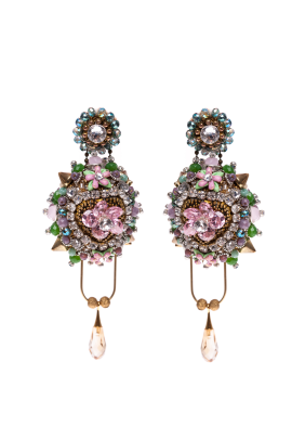 Faberge Pink Flower Earrings-0