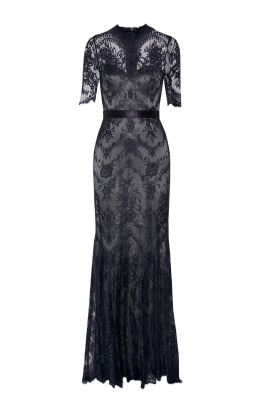 Silk-trimmed Lace Gown -0