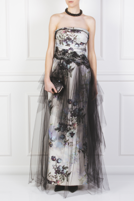 Floral Faille and Tulle Gown-1