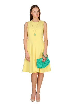 Light Yellow Crepe Dress-1