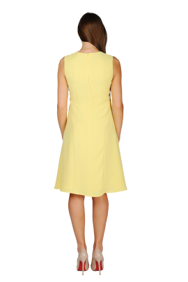 Light Yellow Crepe Dress-3
