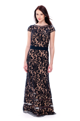 Navy Embroidered Dress-0