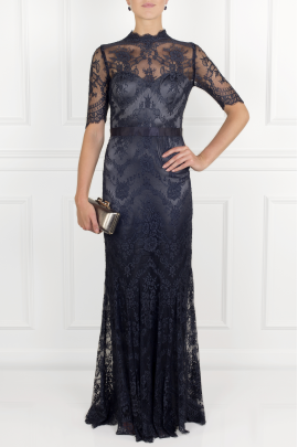 Silk-trimmed Lace Gown -1