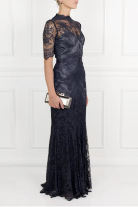 Silk-trimmed Lace Gown -2