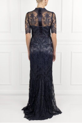Silk-trimmed Lace Gown-3